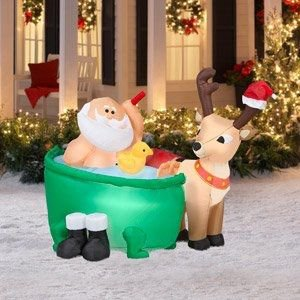 """Santa bathes in the yard, just like Uncle Roy!"""