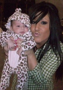 What, you think I can't duckface while holding a baby in leopard print? Well...